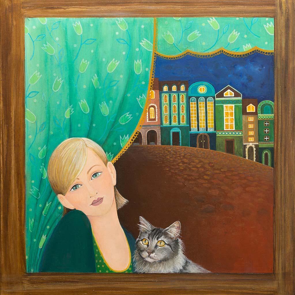 Obraz namalowany farbami akrylowymi na płótnie, zatytułowany - Miasteczko Nocą