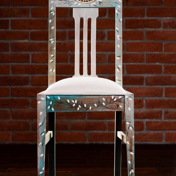 Dębowe Krzesło z Początku XX Wieku po Renowacji Malowane Ręcznie