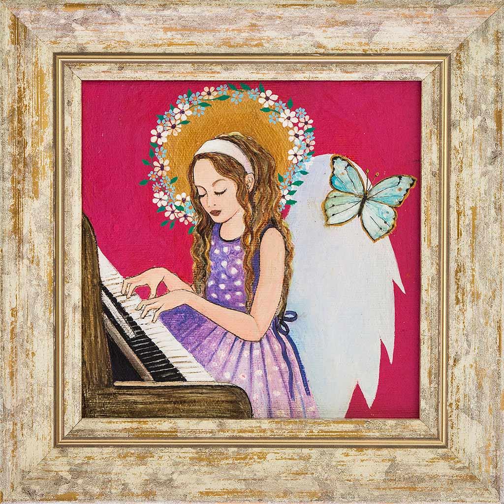 Obraz dziewczynki-anioła grającego na pianinie namalowany na płótnie