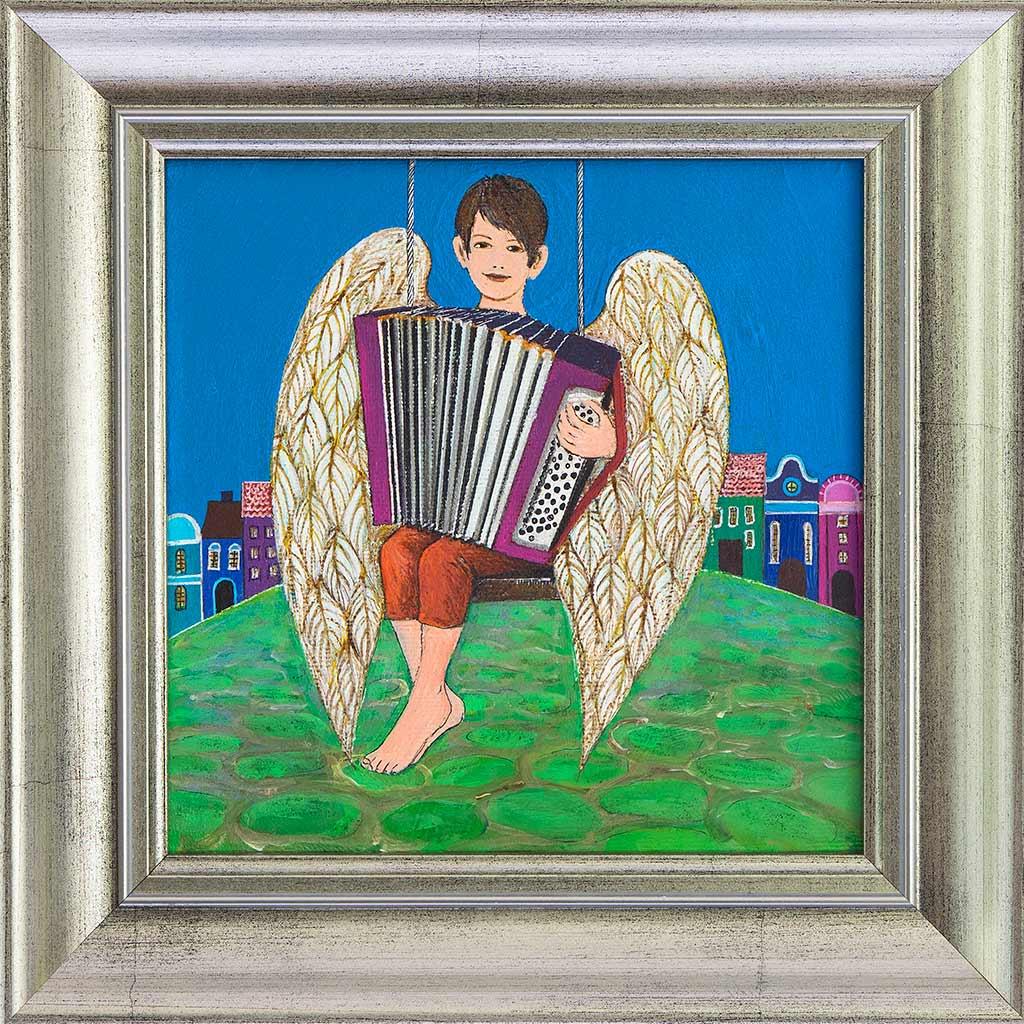 Obraz chłopca-anioła grającego na akordeonie namalowany na płótnie