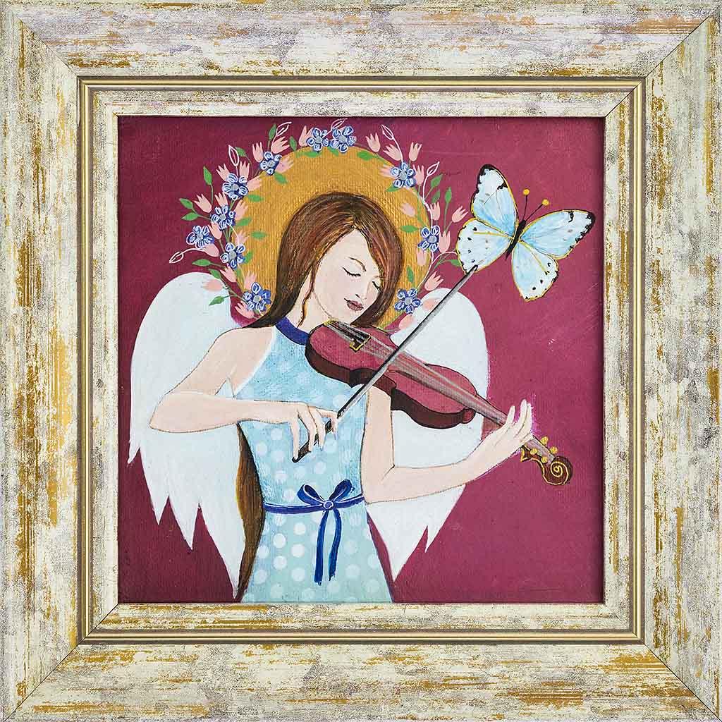 Obraz dziewczynki-anioła grającego na skrzypcach namalowany na płótnie