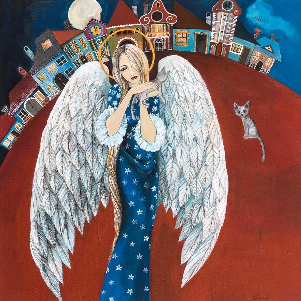 Ręcznie Malowany Anioł – 'W Miasteczku'