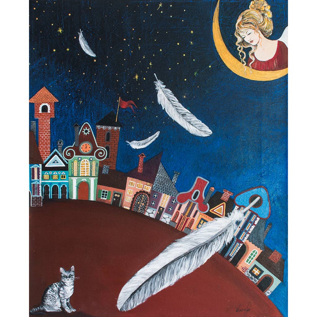 Ręcznie Malowany Anioł – obraz 'Dobranocka'
