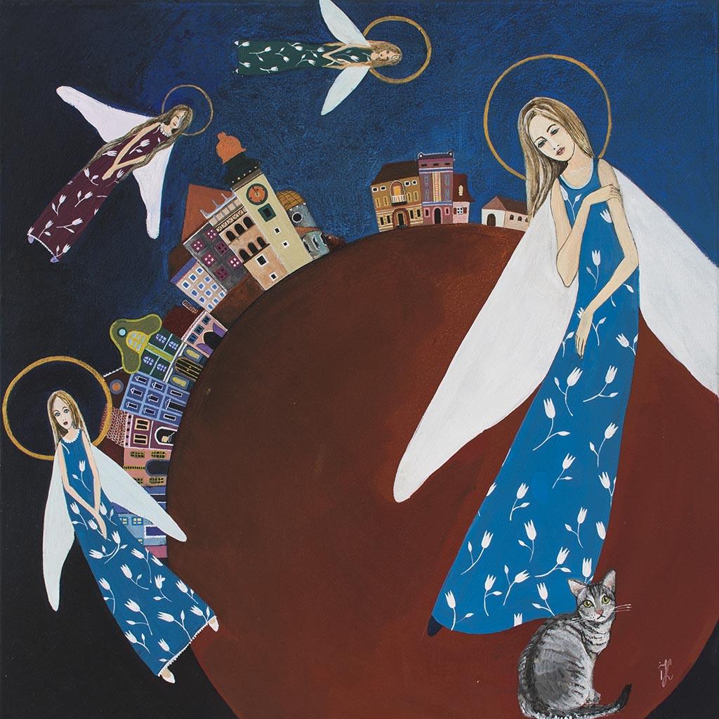 Ręcznie Malowany na płótnie Anioł – obraz 'Nocne Czuwanie'