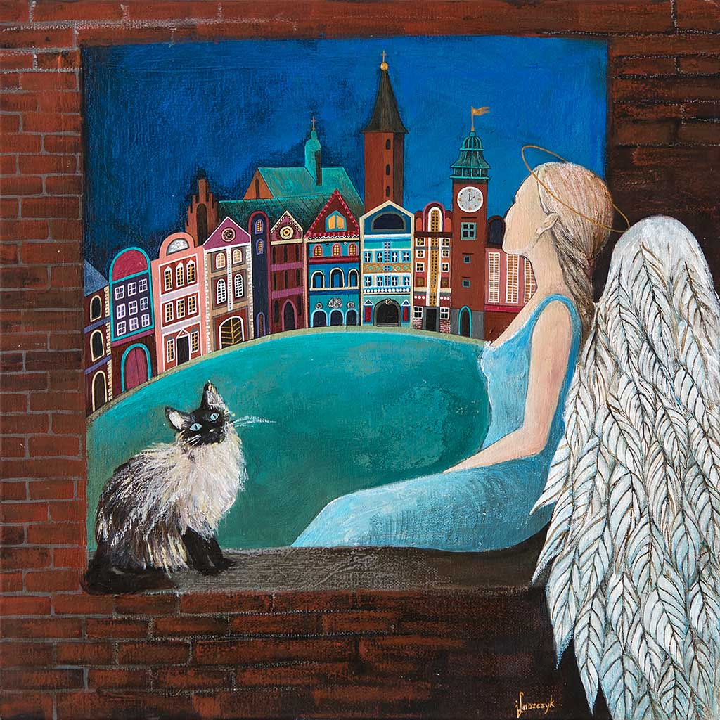 Ręcznie Malowany Anioł – 'Anioł Siedzący w Oknie'