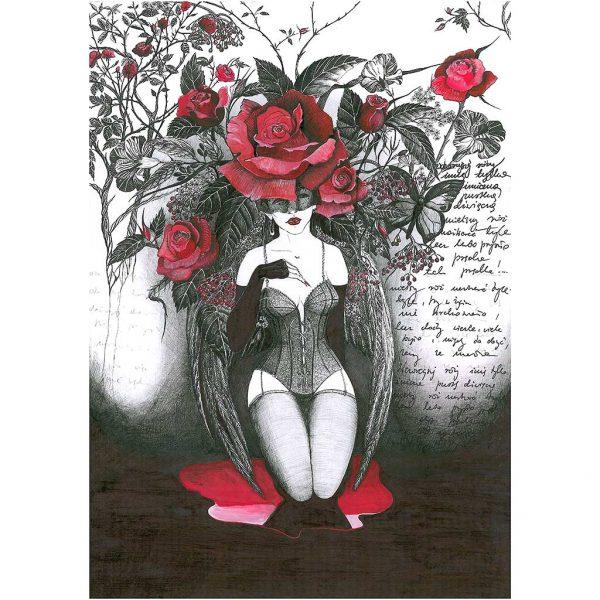 Nastrojowa grafika - Imie Róży, Rysunek wykonany piórkiem na kartonie