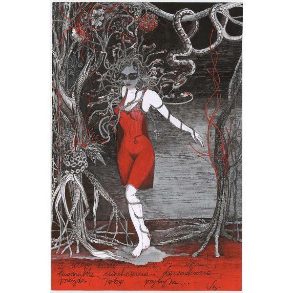 Rysunek 4 - Meduza, Rysunek wykonany piórkiem na kartonie
