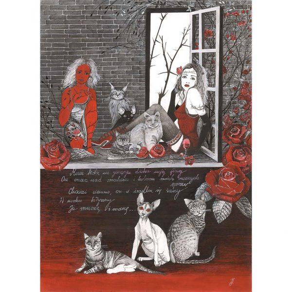 Rysunek 7 - Okno z kotami, Rysunek wykonany piórkiem na kartonie