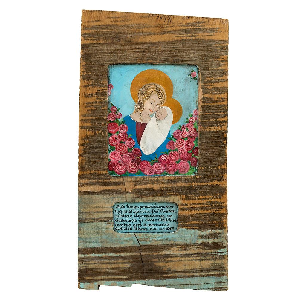 Madonna z Dzieciątkiem – Obraz Malowany na Starej Desce