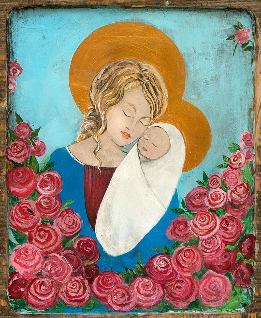 Madonna z Dzieciątkiem Obraz Malowany na Drewnie - Stylizacja na stare malarstwo