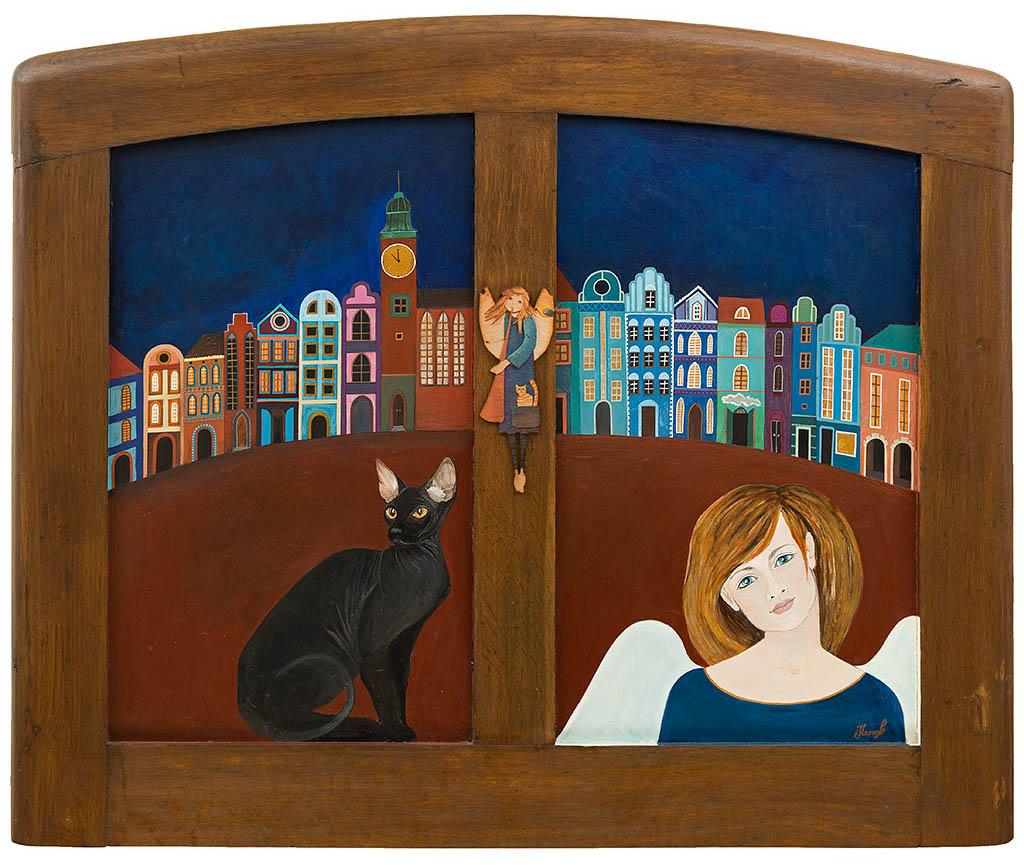 Obrazy z kotem. Obraz 'Anioł w Oknie z Kotem' namalowany na fragmencie starego łóżka