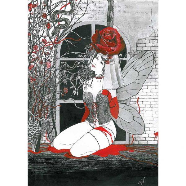 Rysunek 1 – Calineczka, Rysunek wykonany piórkiem na kartonie