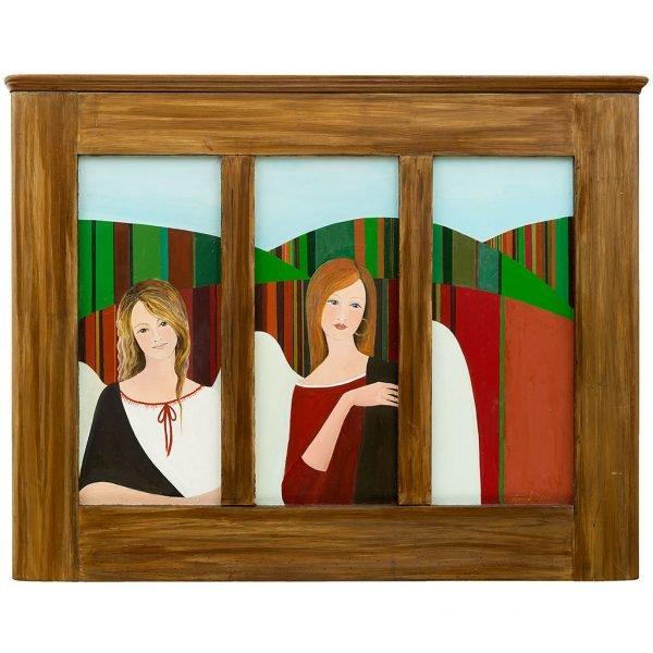 Anioły Świętokrzyskie Dwie dziewczyny - anioły namalowane na tle świętokrzyskich pól