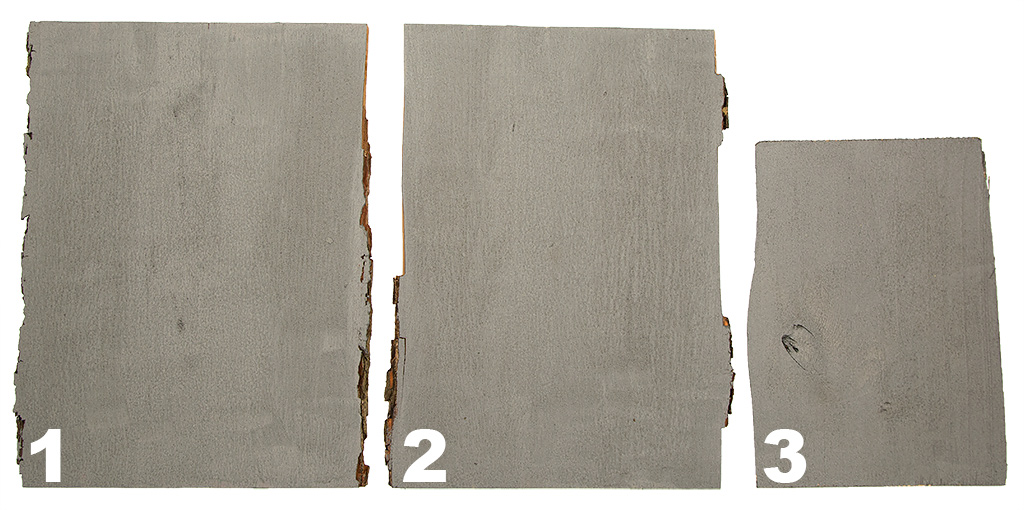3 deski pomalowane farbą do tworzenia efektu rdzy
