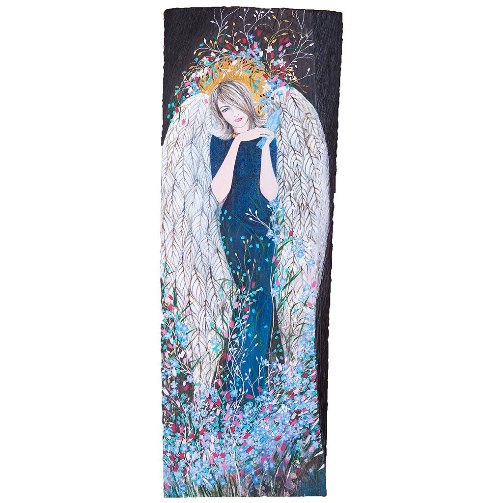 Ręcznie malowany Anioł Niebieski