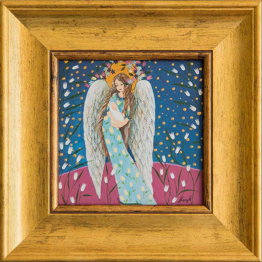 Ręcznie Malowany Anioł z Dzieciątkiem