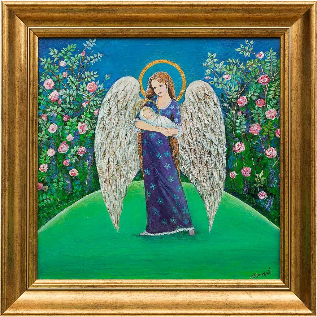 Anioł ze Świętym Dzieciątkiem na rękach - obraz na płótnie oprawiony