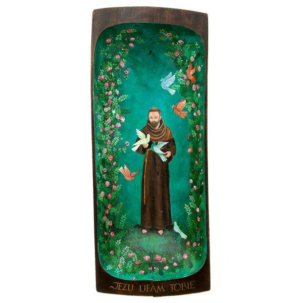 Święty Franciszek w otoczeniu ptaków i kwiatów namalowany na starej desce