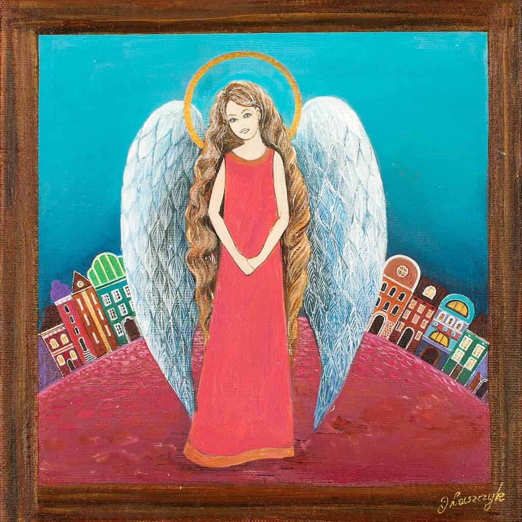 Malowany Ręcznie Anioł na Ślub, Komunię, Chrzciny