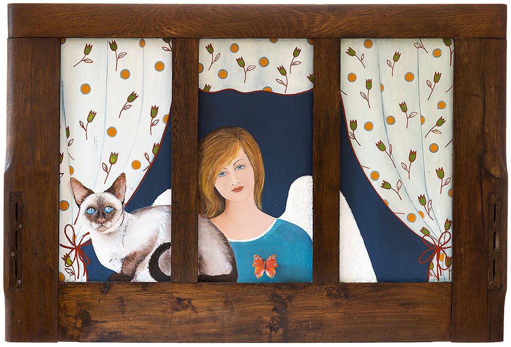 Obraz z kotem i aniołem namalowany na drewnie