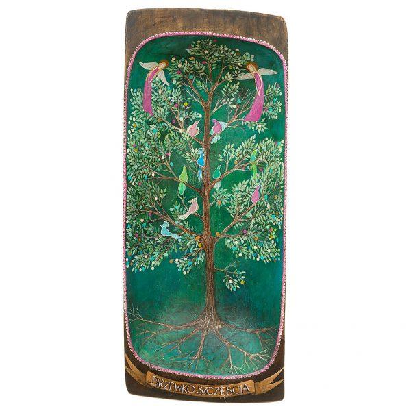 Nietypowy Obraz na Starym Drewnie, który namalowany został na starej niecce