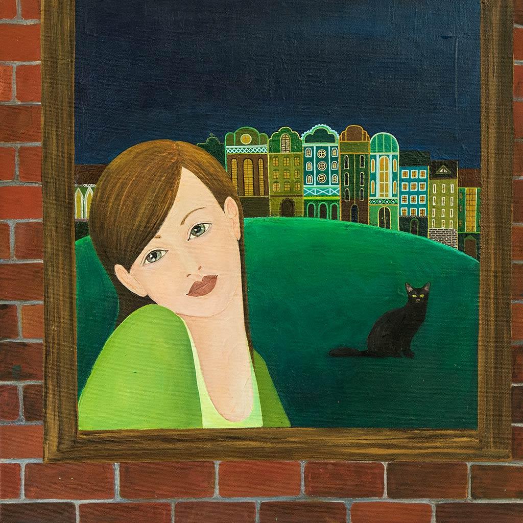 Obraz Malowany na Płótnie - Nocny Kot