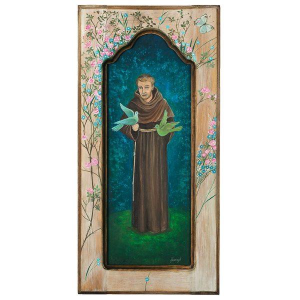 Obraz Malowany Ręcznie na Starym Drewnie - przedstawia Świętego Franciszka z ptakami ne rękach