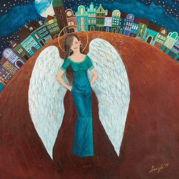 Anioł Stróż Nocny - Kobieta anioł na rynku baśniowego miasteczka