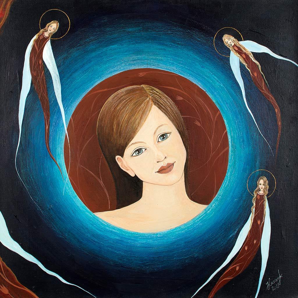 Nocne Anioły Obraz na Płótnie - twarz dziewczyny otoczona wianuszkiem aniołów