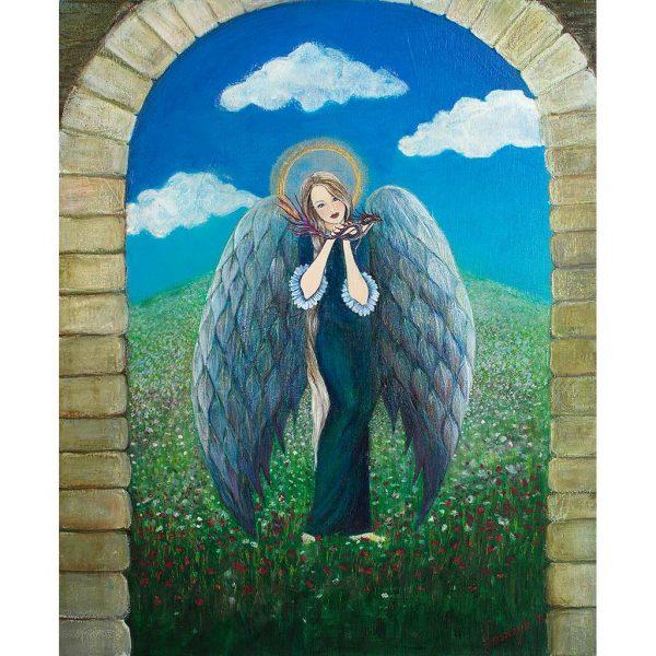 Anioł ze Smokiem - Pierwszy raz namalowałam Anioła ze smokiem. Z tym, że mój Anioł nie walczy, a raczej oswaja małego smoczka