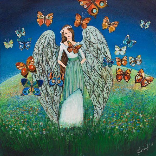 """Obraz z Aniołem, który nazwałam """"Anioł Wiosenny"""""""