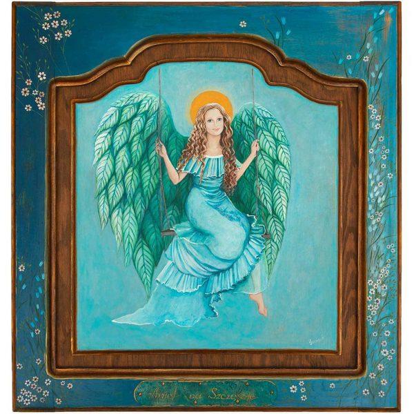 Anioł malowany ręcznie na desce
