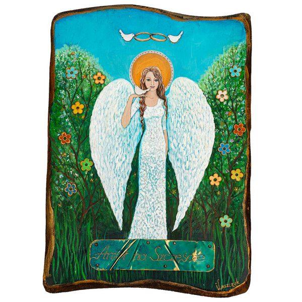Anioł Malowany Ręcznie na Prezent Ślubny