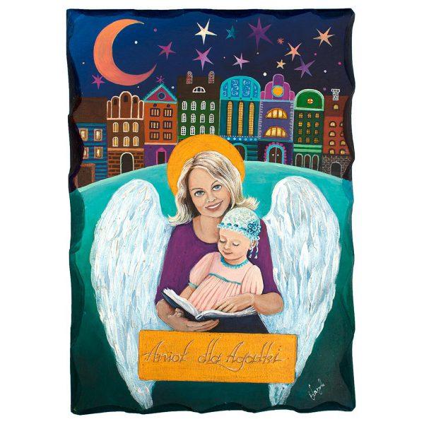 Anioł Malowany na desce dla Agatki