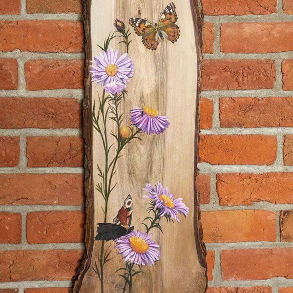 Kwiaty malowane na desce